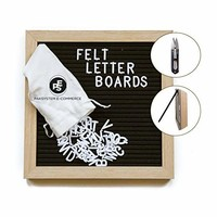 """Felt Letter Board, Special Gift Bundle, Black (12"""" x 18"""") Includes: 690 Letters/Numbers/Characters (340 ¾""""+ 350 1"""")+ Sorting Tray+ Letter Pouch+ Letterboard Stand + Gift Box! Oak Frame"""