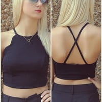 Lingering Love Black Scalloped Side Crop Top