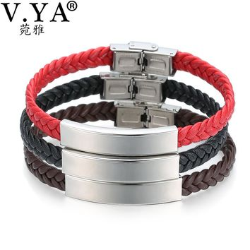 V.YA Engraving Date Phone Number Pattern for Women Men Bracelets Bangles Leather Bracelet Personal Jewelry Drop Shipping