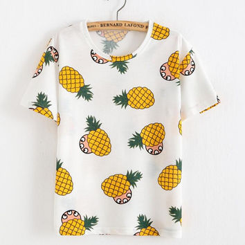 Loose pineapple printing T-shirt