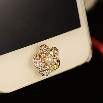1 pcs Bling Crystal Pearl Flower iPhone Home Button Sticker for iPhone 4,4s,4g, iPhone 5, iPad, Cell Phone Charm