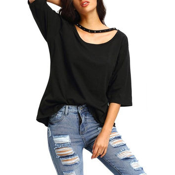 Women's Shirts Fashion  Cotton Blend T-shirt Casual Loose Black Half Sleeves Tee Top Femme camisetas Mujer GS
