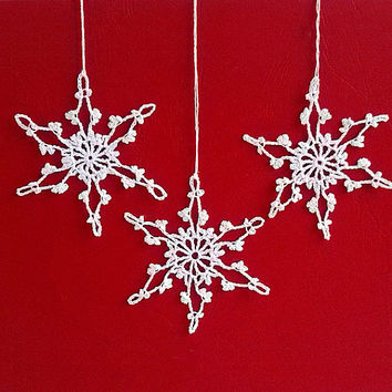 Crochet Snowflake #4 Handmade christmas tree decorations Christmas time X-mas holiday decor New Year ornaments accents Winter Snow presents