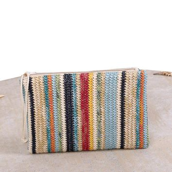 2017 New Famous Designer Handbag Women Straw Day Clutches Envelope Bag Casual Ladies Summer Beach Banana Knitting Bag sac a main