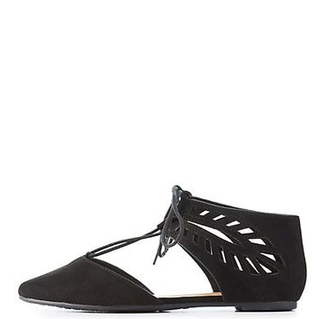 Bamboo Laser Cut Lace-Up Flats