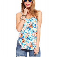 Floral Print Cami With Side Split