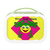 Cute Frog on Pink and Yellow Lunchbox