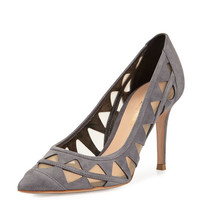 Cutout Suede Pump, Dark Gray