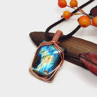 Unique wire wrapped Labradorite necklace, blue fire Labradorite pendant, copper wire wrap, black leather necklace, unique necklace for women