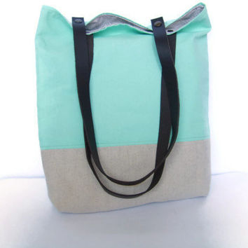 Mint tote with leather straps, summer mint green bag, colorblock linen and cotton, green anf grey tote