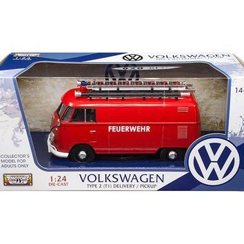 Volkswagen Type 2 (T1) Fire Van Red 1/24 Diecast Model Car by Motormax