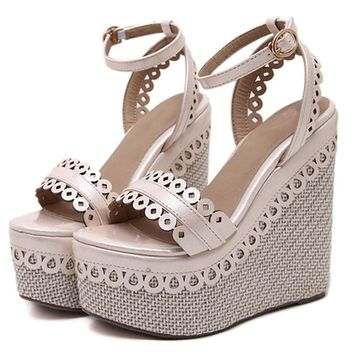 Gemma Platform Wedge Sandals with Ankle Strap 3 Colors