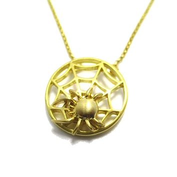 Tarantula Spider Web Shaped Pendant Necklace in Gold | DOTOLY