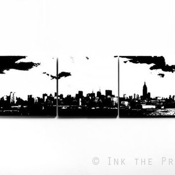 New York Skyline Triptych (White w/ Black, custom colors available) 3 x 1 Foot Screenprint/Painting, Large Wall Art, Black and White Decor