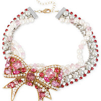 Betsey Johnson Necklace, Gold-Tone Bow Collar Necklace - All Fashion Jewelry - Jewelry & Watches - Macy's