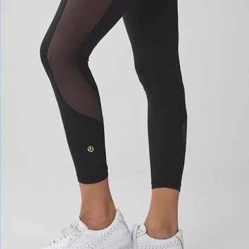 lululemon fashion print exercise fitness gym yoga running net yarn leggings sweatpants 7 points long-1