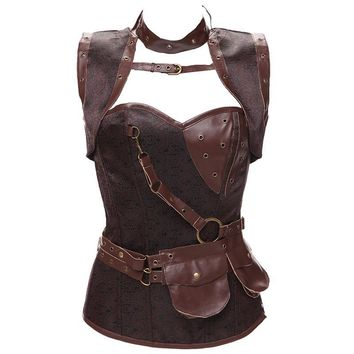 S-6XL New Women Vintage Gothic Retro Goth Brocade Full Steel Bones Steampunk Overbust Corset with Jacket and Belt Brown Shaper