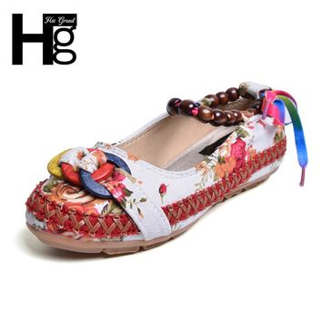 HEE GRAND Plus Size 35-42 Traditional Women Casual Shoes Vintage Fabric Unique Design Ankle Beading Slip-on Loafers XWD5582