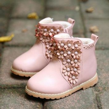 PEAPIX3 Winter Toddler Baby Boot Korean Flower Thicken Girl Pirncess Snow Boots Good Quality Pu Leather Small Kids Martin Shoes GR132 = 1946195716
