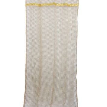 "Indian Sari Curtain Beige Sheer Organza Golden Sari Window Drapes Panels (Length:84"")"