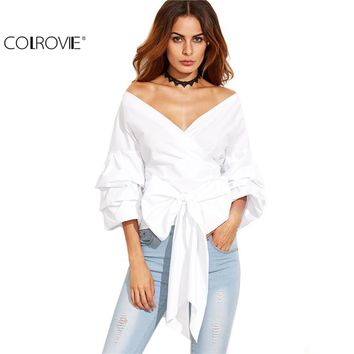Off Shoulder Top 3/4 Sleeve Bow Tie V Neck Wrap Blouse