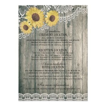 Rustic Country Wood Sunflower Lace Wedding Details Card