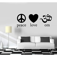 Wall Decal Yoga Buddha Peace Love Om Vinyl Sticker Unique Gift z3265