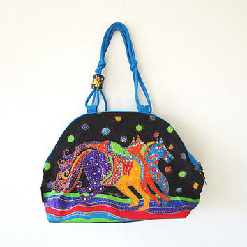 Vintage 90's LAUREL BURCH Rainbow HORSE Sequined Art Canvas Large Market Shoulder Tote
