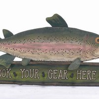 """Large Wooden Fish Sign and Coat Hanger - 48"""" (Customizable)"""