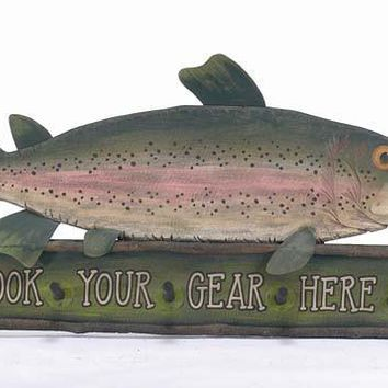 "Large Wooden Fish Sign and Coat Hanger - 48"" (Customizable)"