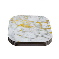 "KESS Original ""Gold Flake"" Marble Metal Coasters (Set of 4)"