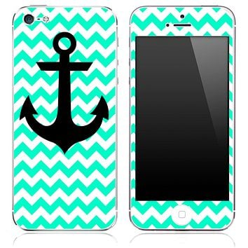 Trendy Green/White Chevron and Anchor Skin for the iPhone 3gs, 4/4s, 5, 5s or 5c