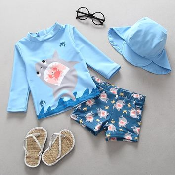 Boys Swimwear Two Pieces Swimsuits for Toddler Boy Shark Print Children Swimsuit Long Sleeve Rash Guards Separate Swimming Suits