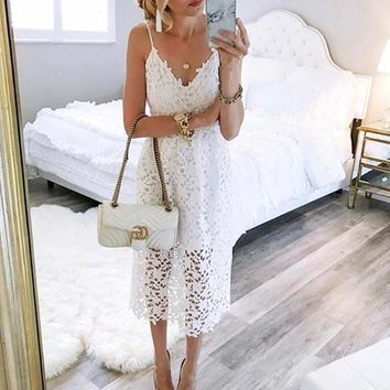 Fashion Hollow out Lace Stitching Dress