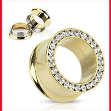 ac ICIKO2Q NEW arrival Fashion ear plug(F78)Free shipping mix(5-16mm)140pcs/lot stainless steel crystal body jewelry gold ear flesh tunnel