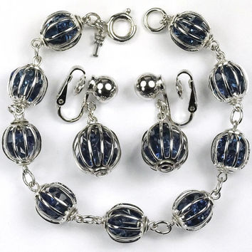 TRIFARI  Caged Faux Sapphire Rhinestones Bracelet Earrings DEMI SET