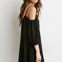 Crochet-Paneled Open-Shoulder Dress
