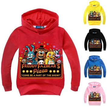 DLF 2-12Years Five Night at Freddy Hoodies Teenagers Boys Sweatshirt Girl t shirt Long Hoodie Baby Costumes Jumper Casual Wear