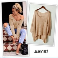 Autumn long-sleeved knit sweater big pocket thin sweater women Stretch knit sweater