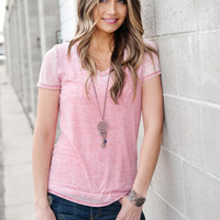 Pink Burnout V-Neck Tee
