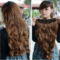 Fashion Full Head Clip Curly/ Wavy Women Synthetic Hair Extensions Womens Wigs = 1705936260