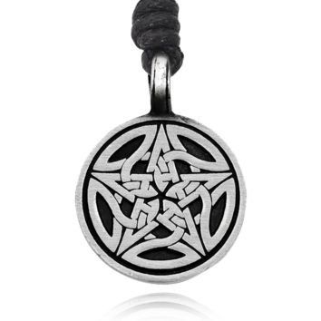 Handmade Pentagram 5 Pointed Star Silver Pewter Charm Necklace Pendant Jewelry