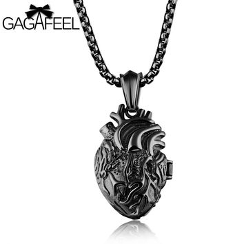 GAGAFFEL Heart Pendants Necklaces Men Jewelry Black 316L Stainless Steel Necklace Anatomically Organ Punk Charm Necklace Gift