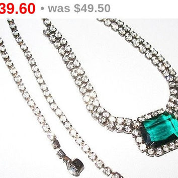 "Emerald Rhinestone Bib Necklace Clear Ice Chain Silver Metal Holiday Necklace 19"" Vintage"