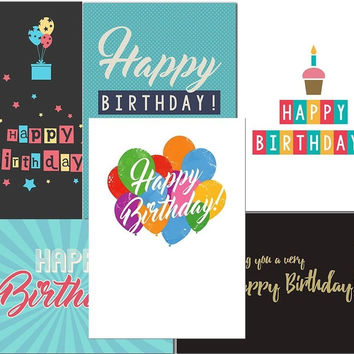 Happy Birthday Cards Variety Pack - Box of 24 Cards with Envelopes - 6 Designs