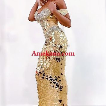Beautiful Entrance Gold Maxi Diamante Dress