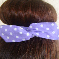 "Wire Bun Wrap, Top Knot Wire Wrap Purple Polka Dots ""Mini"" Dolly Bow Wire Headband Ponytail Hair tie Hair Bun Tie Wrap"