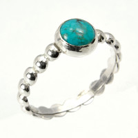 Silver Stacking Ring with Turquoise, Turquoise Ring with Sterlling Silver Bead Wire