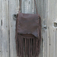Rustic gypsy handbag Fringed leather purse Crossbody shoulder bag