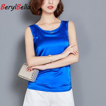 Tank Tops For Women Solid Shirt Vest Female Wide Straps Loose Emulation Silk Stitching Cropped Shirt Sequined Camis